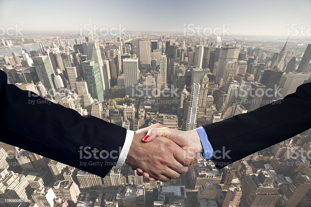 Business deal in Manhattan, New York royalty-free stock photo