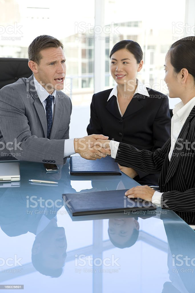 Business Deal with Asian people stock photo