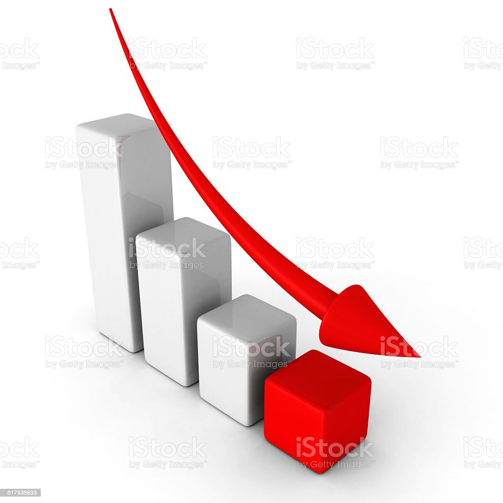 business decline chart graph with falling arrow stock photo