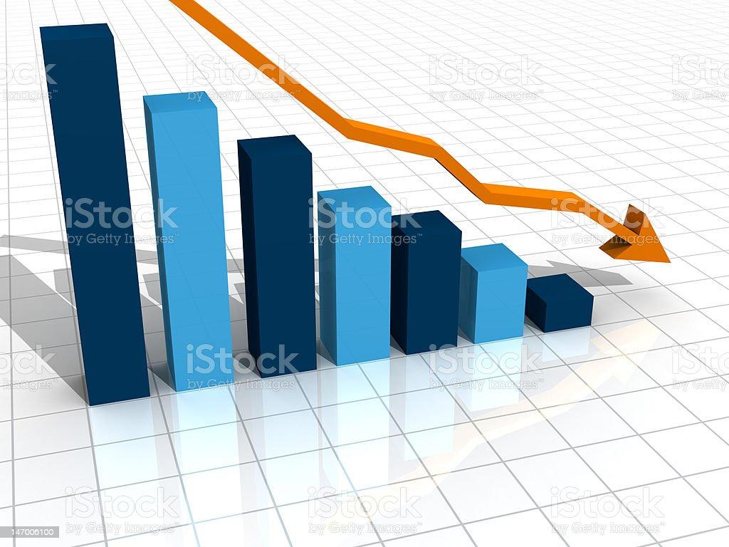 3D business decline graph stock photo