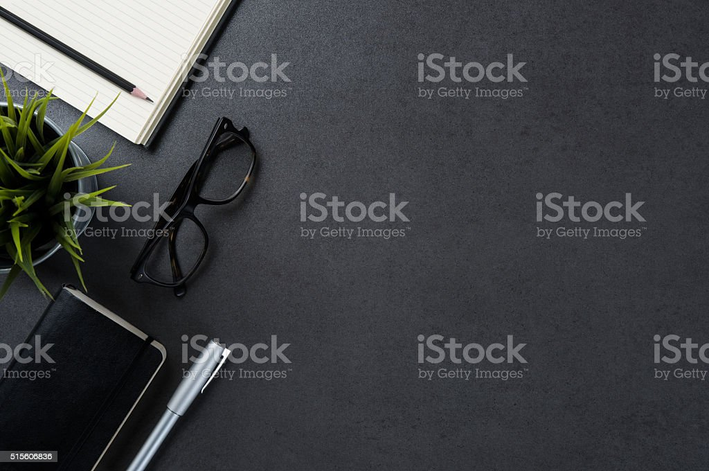 Business desk background stock photo