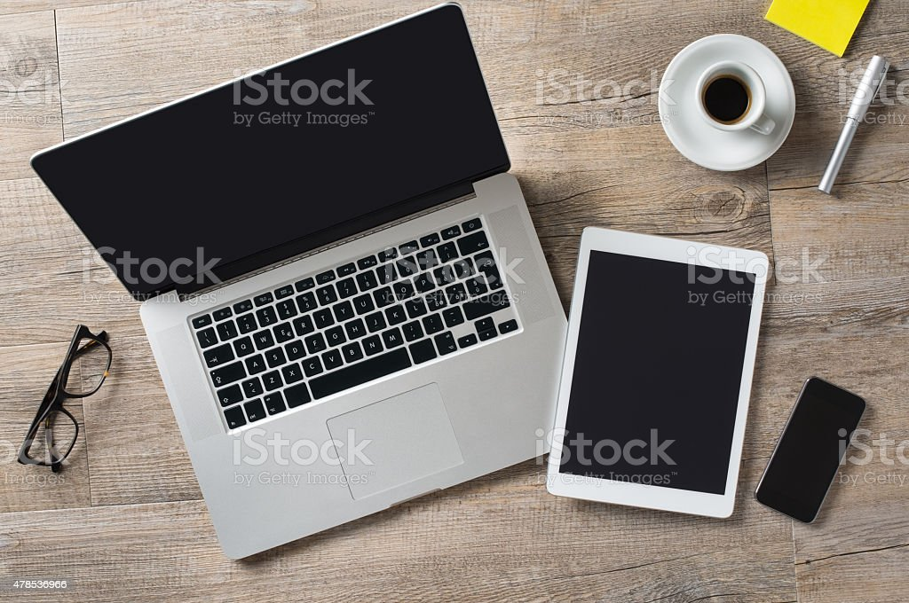 Business desk stock photo