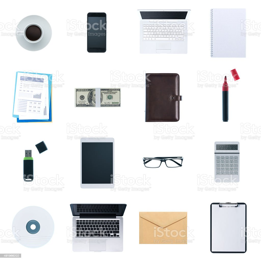 Business desktop objects set stock photo