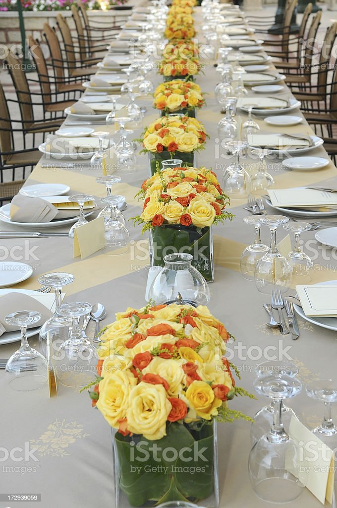 business dinner table stock photo
