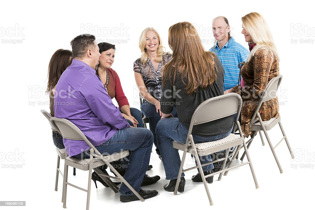 Business discussion in a cirle on white royalty-free stock photo