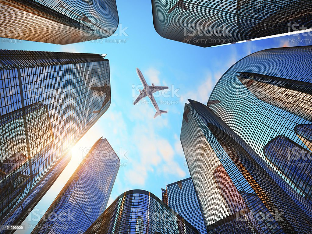 Business district with modern skyscrapers stock photo