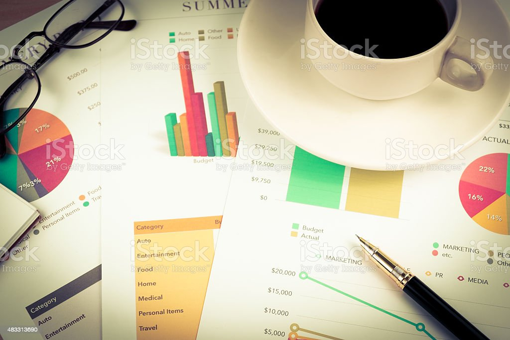 business document coffee pen for accounting vintage colour style stock photo