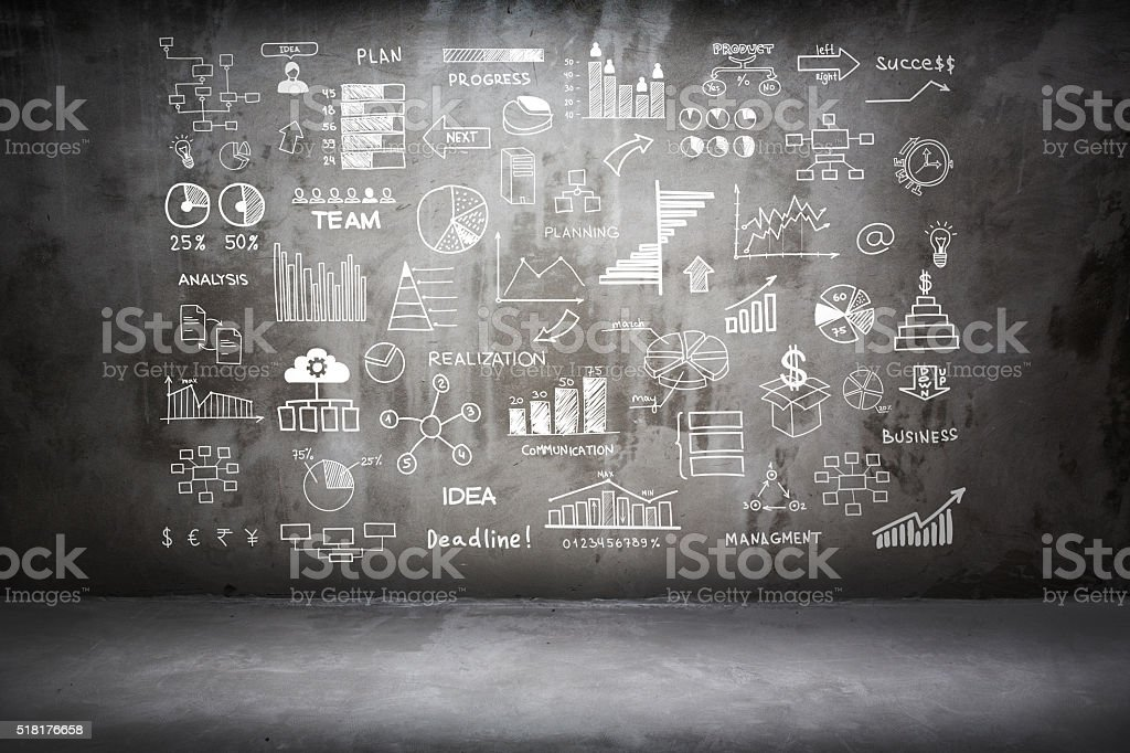 Business Doodles on Concrete Wall stock photo