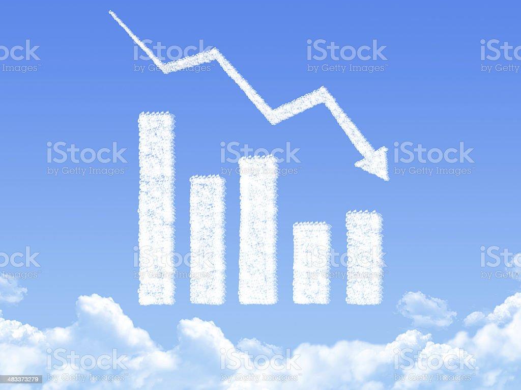 Business down shiny chart cloud shape stock photo