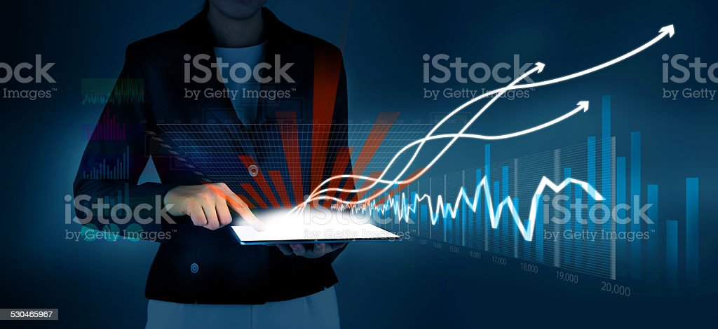 Business drawing financial graph stock photo