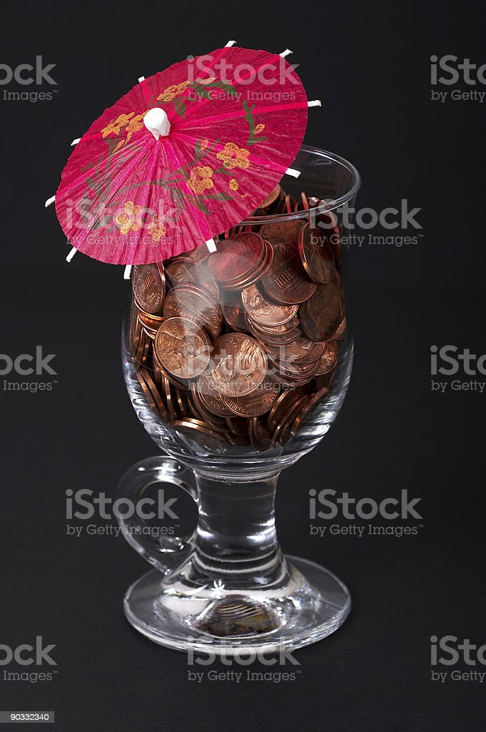 Business drink with money royalty-free stock photo