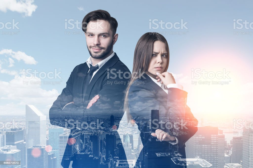 Business duo in a morning city stock photo
