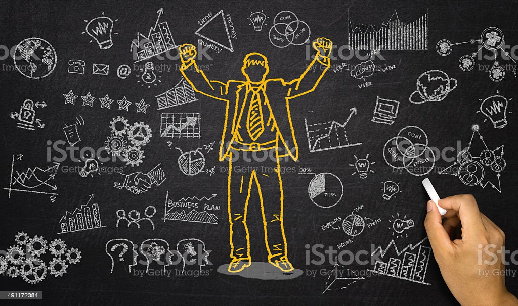 business elements and businessman hand drawn on blackboard stock photo