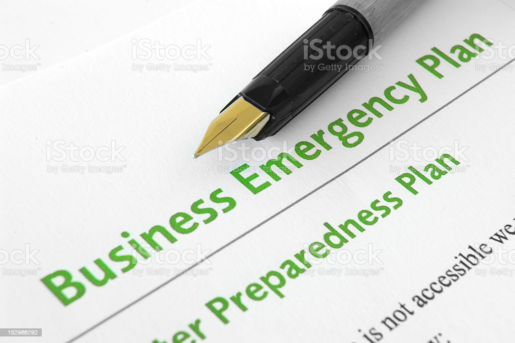 Business emergency plan stock photo