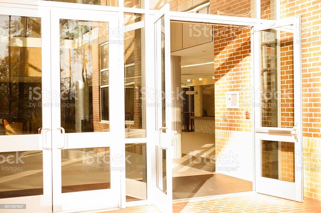 Business: Empty office building, school.  Front doors are open. stock photo