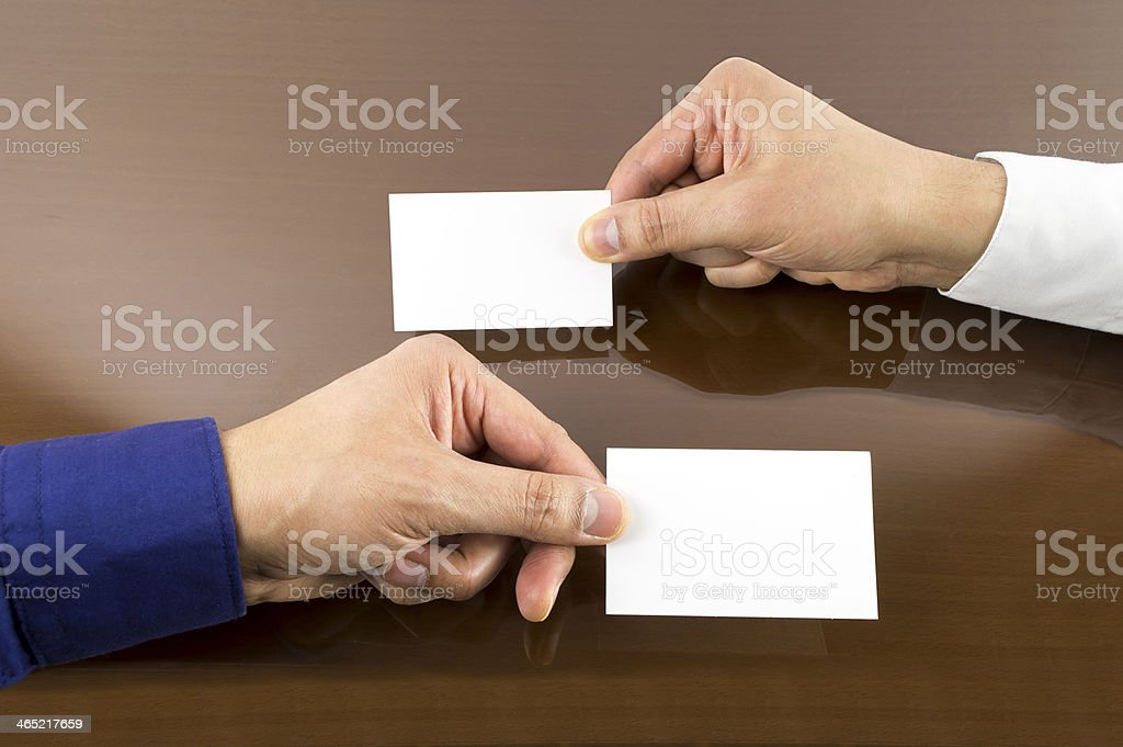 business exchanging card stock photo
