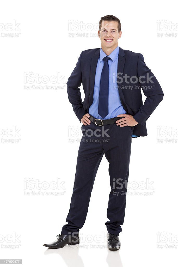 business executive standing on white background stock photo