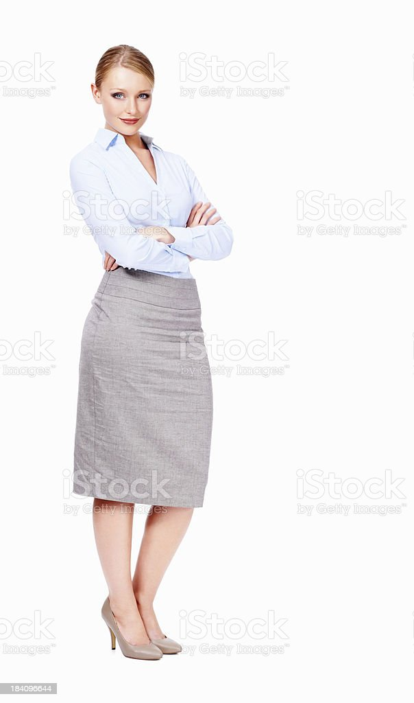 Business executive with arms crossed isolated on white background royalty-free stock photo