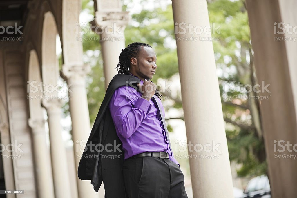 Business Executive With Coat Over His Shoulder royalty-free stock photo