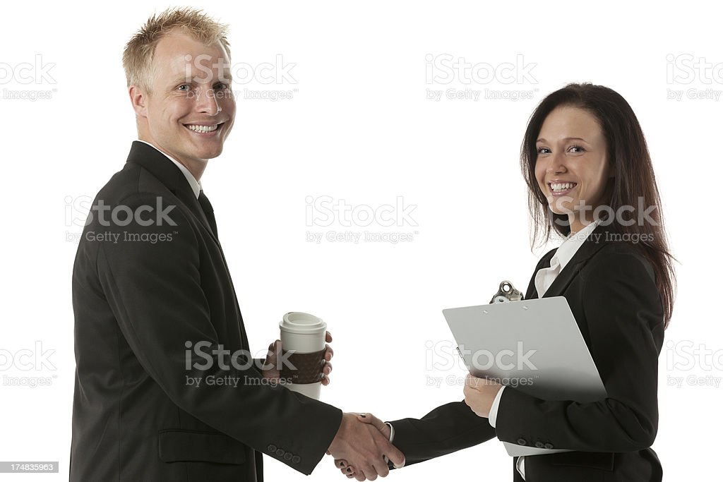 Business executives shaking hands royalty-free stock photo