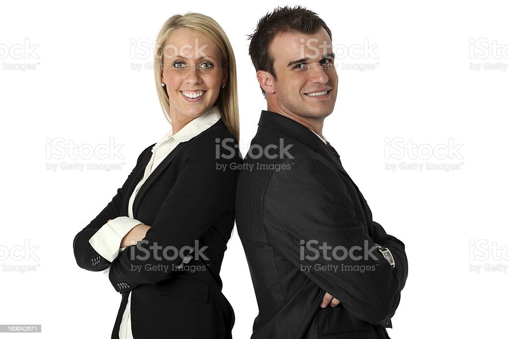 Business executives smiling royalty-free stock photo