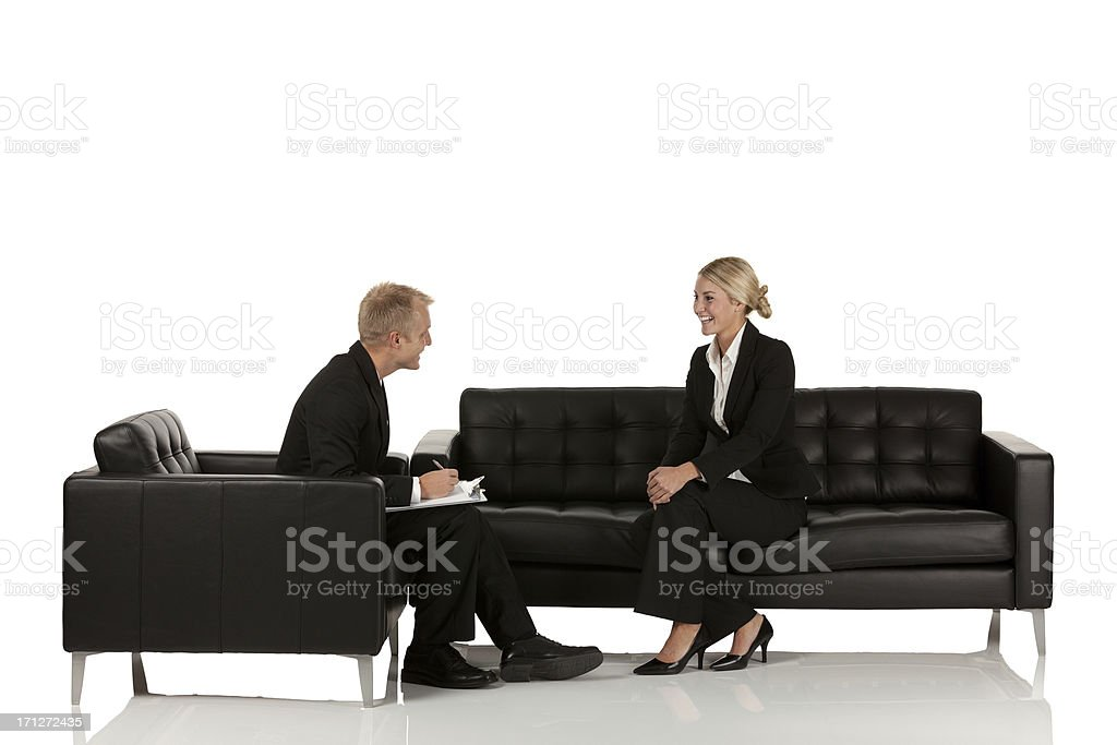 Business executives talking to each other royalty-free stock photo