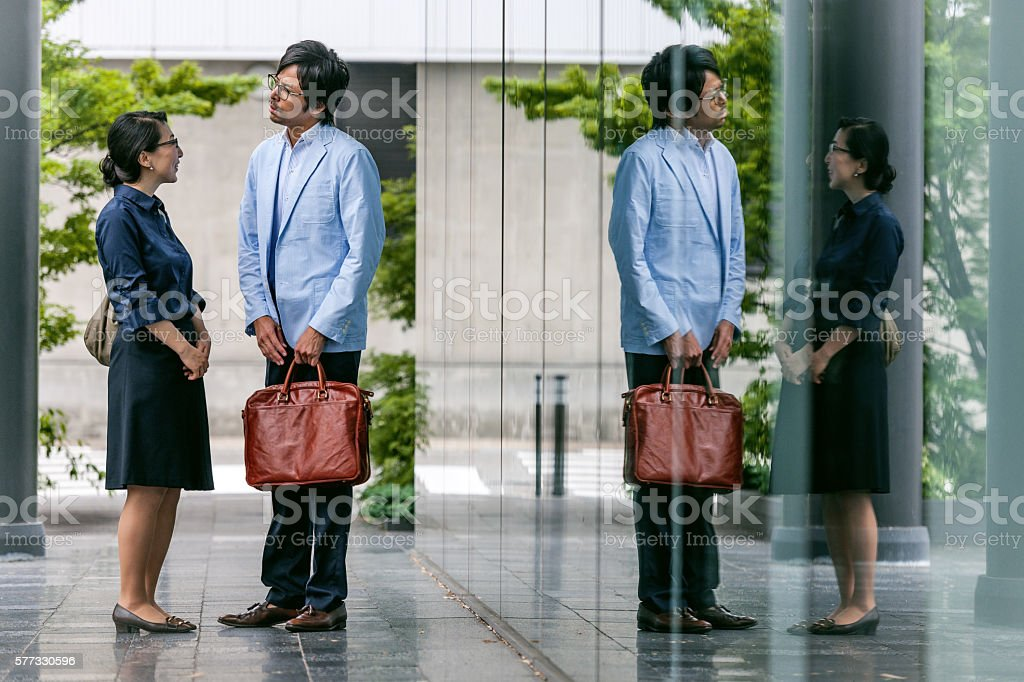Business Executives Walking towards their office ,Kyoto,Japan stock photo