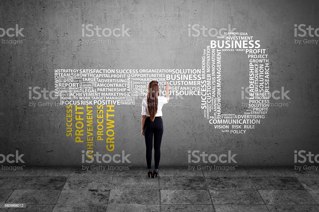 Business executives writing key word cloud on dirty wall stock photo