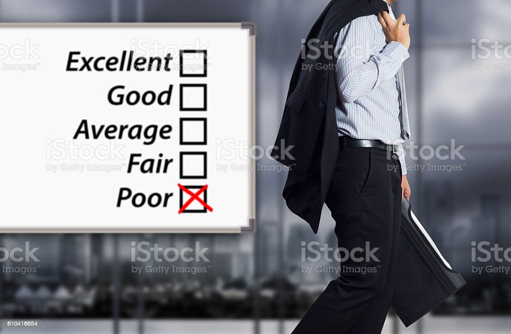 Business failure. Concept of failure with businessman. stock photo