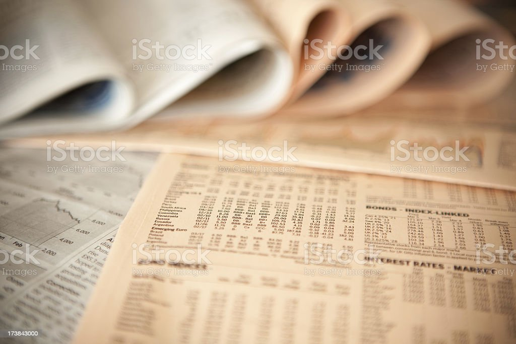 business financial newspaper forecast detail background stock photo