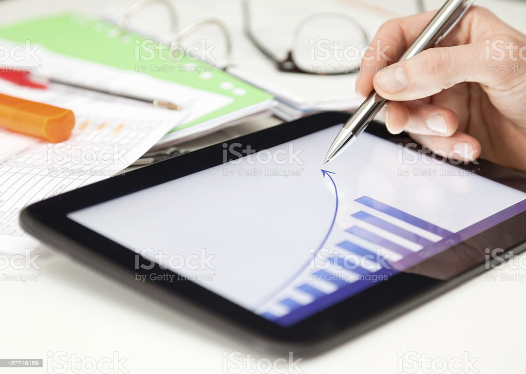 Business Forecast on Tablet stock photo