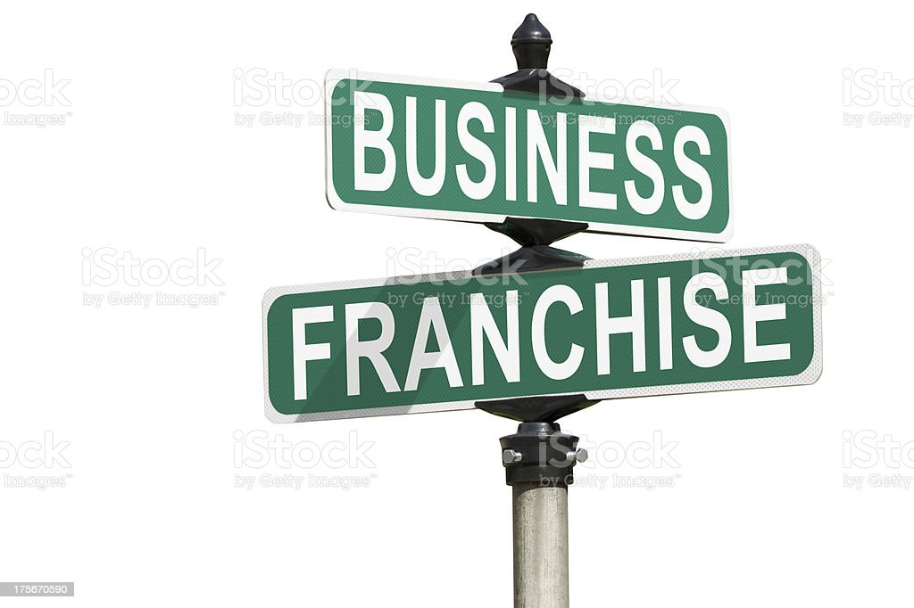 Business Franchise Street Sign Isolated on White royalty-free stock photo
