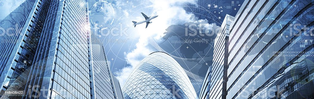 Business futuristic skyscraper banner stock photo