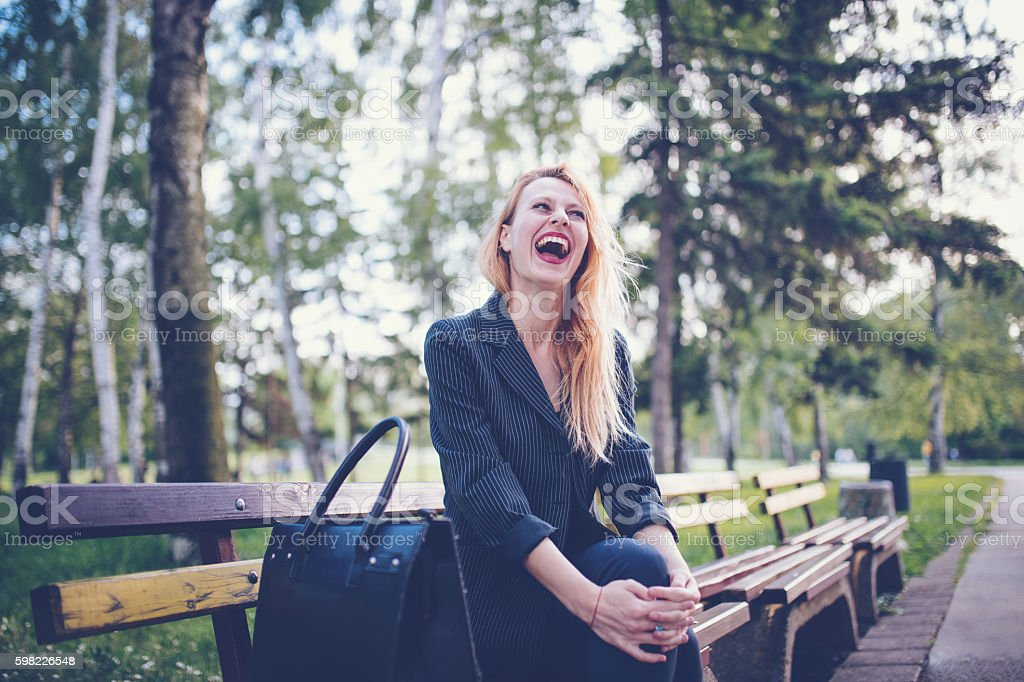 Business Girl in the park stock photo