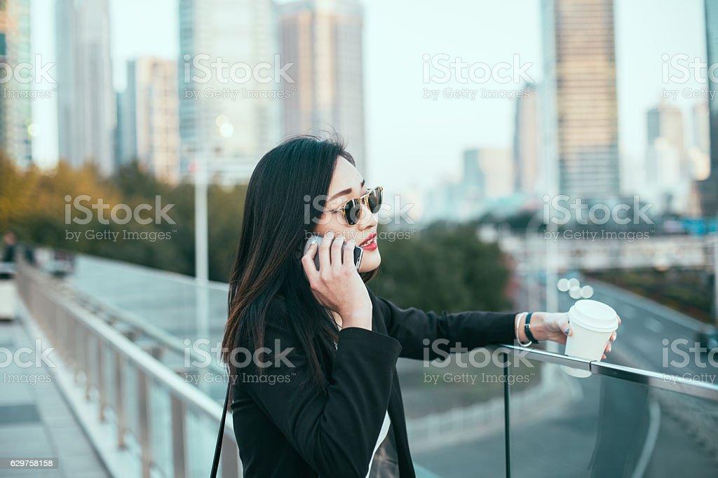 Business girl on coffee break stock photo