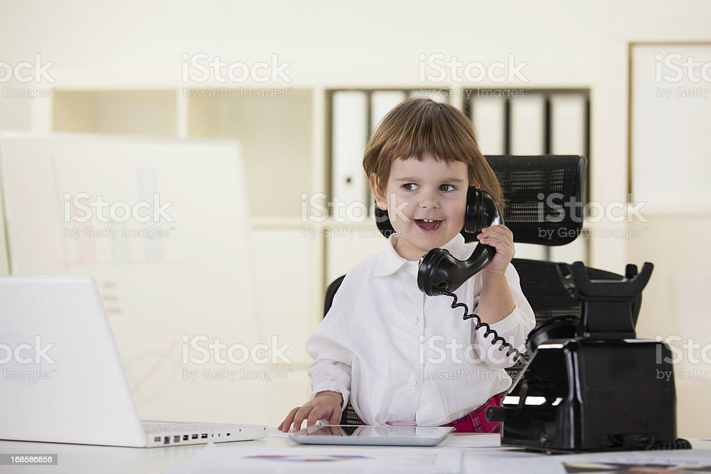 Business girl talking on the old phone royalty-free stock photo