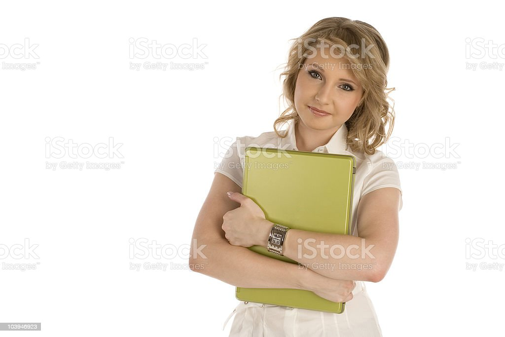 Business girl with laptop stock photo