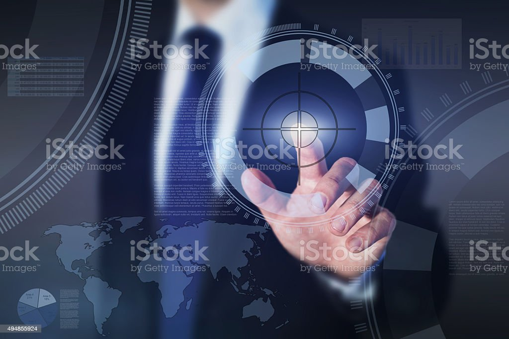 business goal concept on touch screen stock photo