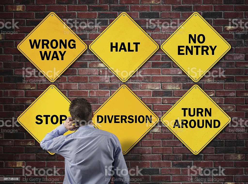 Business going the wrong way stock photo