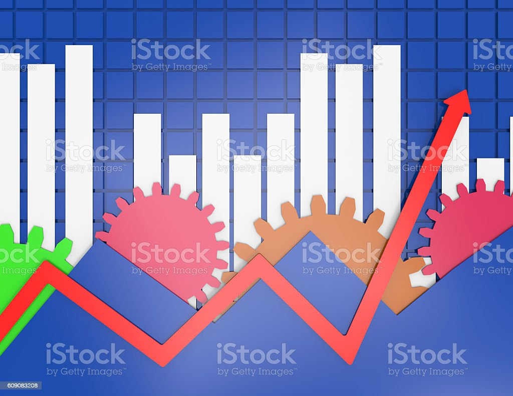 Business graph background with gears stock photo