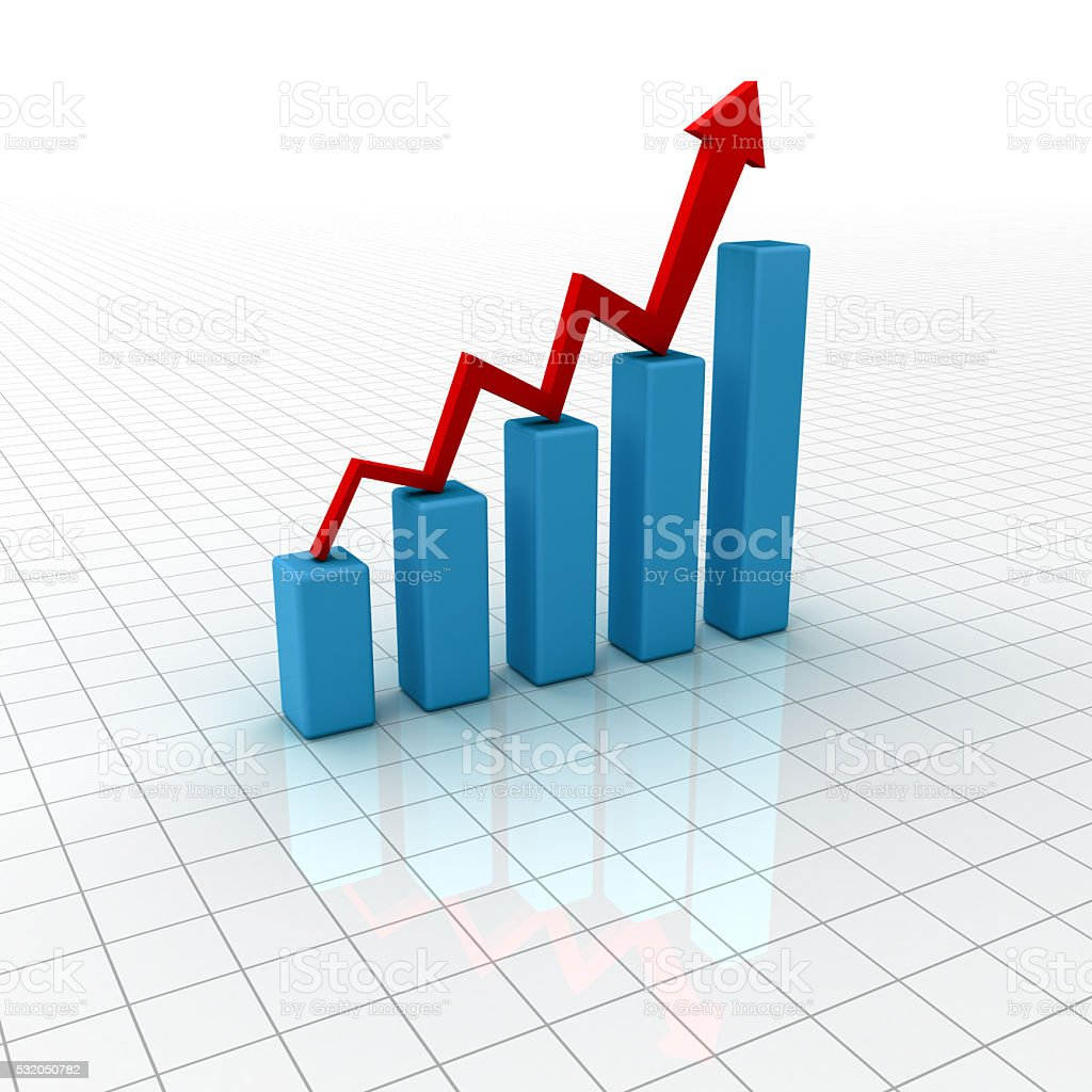 Business graph chart growing stock photo