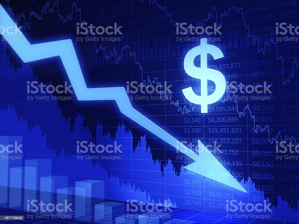 Business graph. Dollar sign. Moving down. stock photo