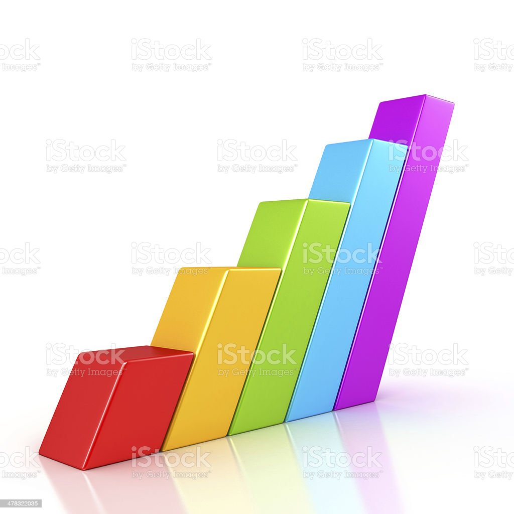 Business graph growth progress over white royalty-free stock photo