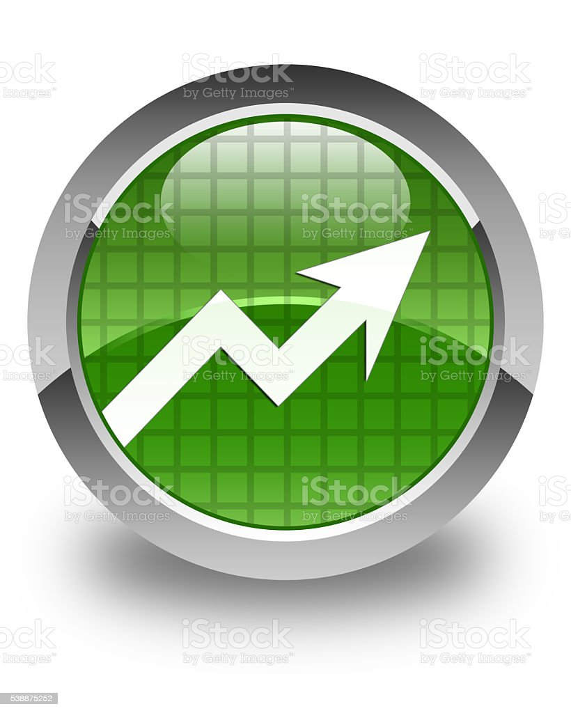 Business graph icon glossy soft green round button stock photo