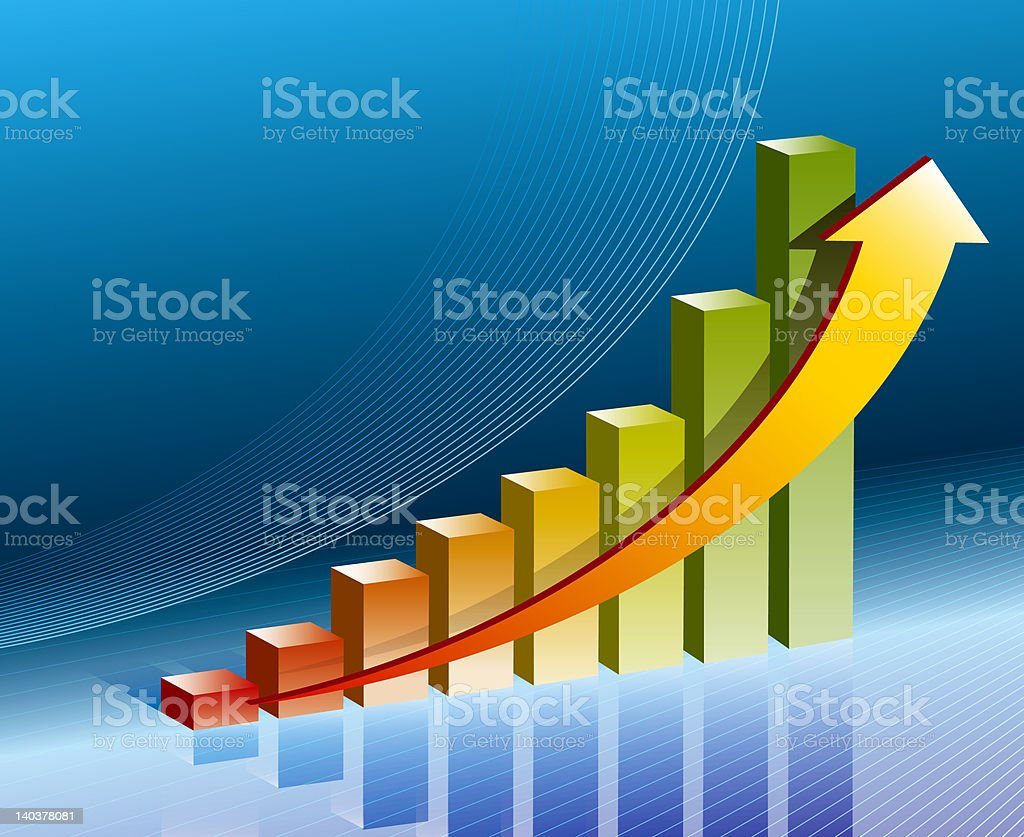 business graph in blue royalty-free stock photo