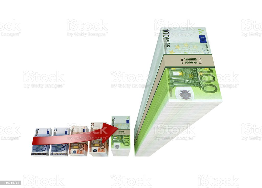 Business graph made from Euro banknotes royalty-free stock photo
