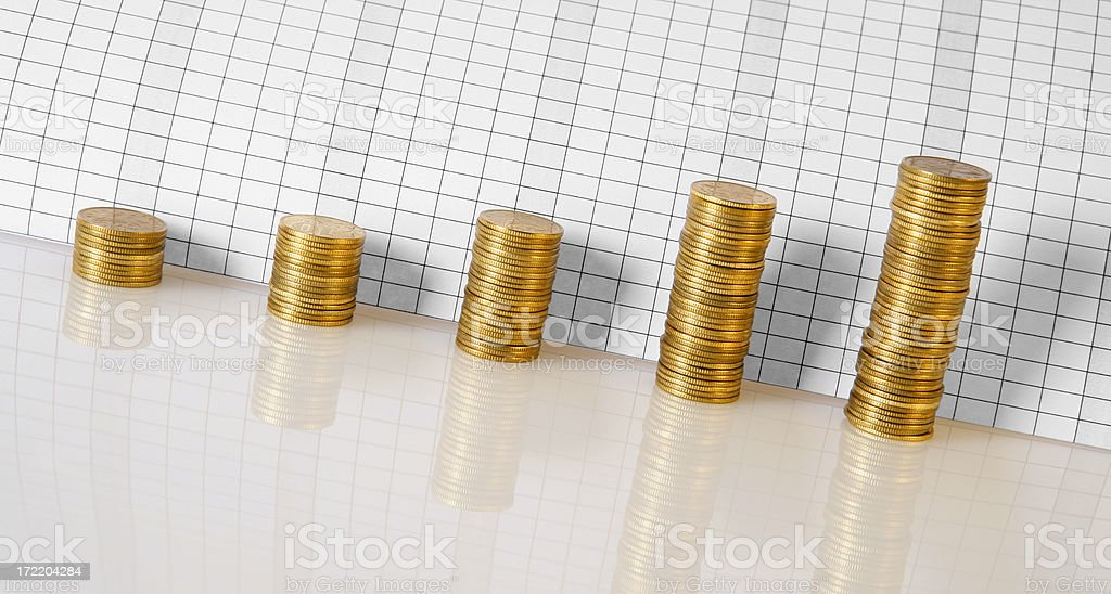 Business graph made of coins royalty-free stock photo