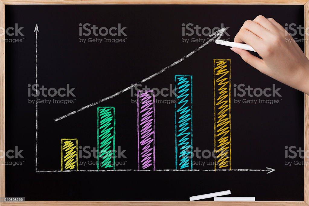 Business graph on blackboard stock photo