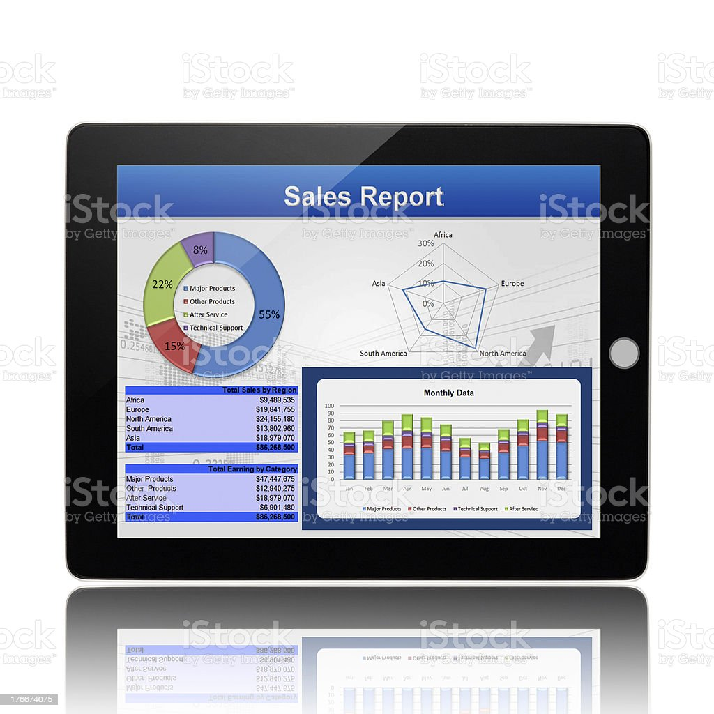 Business Graph On Digital Tablet PC royalty-free stock photo