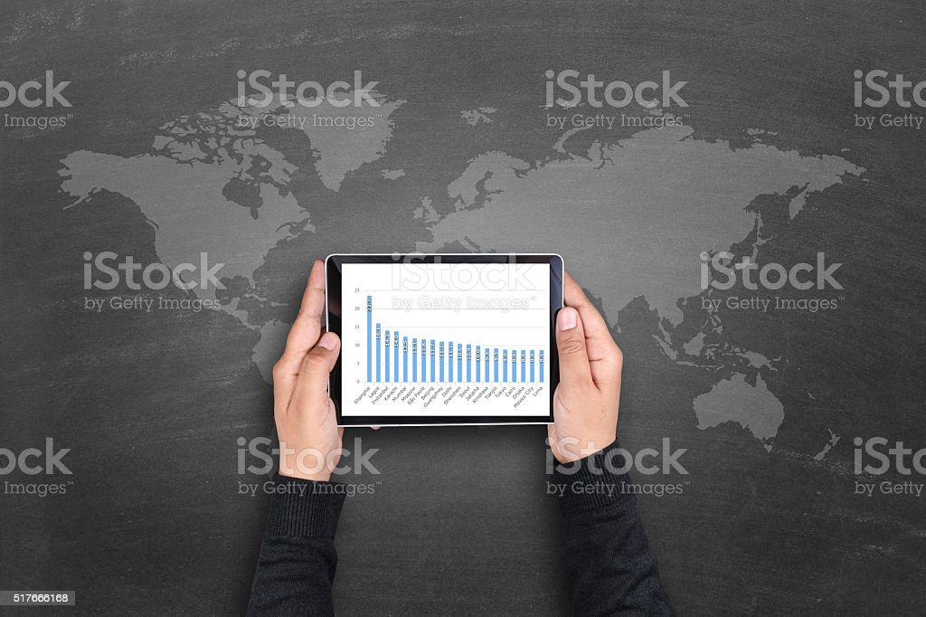 Business graph on digital tablet stock photo